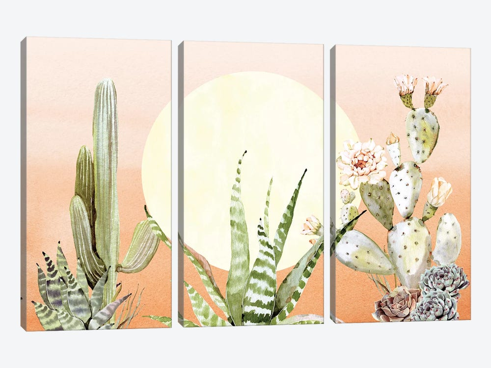 Desert Days Cactus Succulents And Sun Southwestern In Orange Green And Yellow III by Nature Magick 3-piece Canvas Art