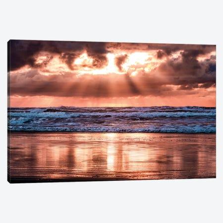 Pink Ocean Sunset Beach Waves Canvas Print #MGK411} by Nature Magick Canvas Print