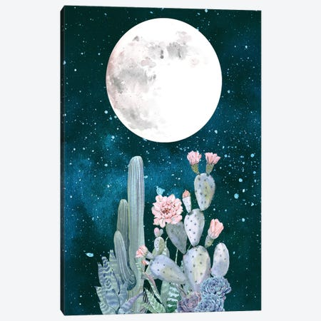 Desert Nights Cactus Succulents Moon Night Sky Southwestern In Turquoise Blue Mint Green And Pink II Canvas Print #MGK42} by Nature Magick Canvas Art