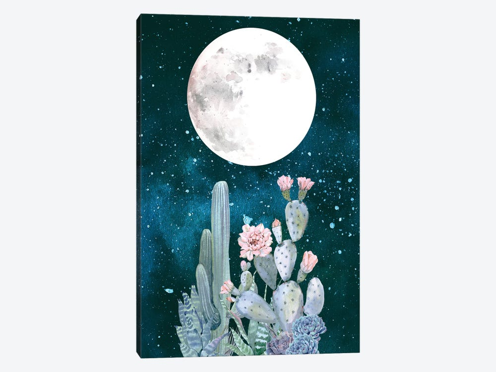 Desert Nights Cactus Succulents Moon Night Sky Southwestern In Turquoise Blue Mint Green And Pink II by Nature Magick 1-piece Canvas Wall Art
