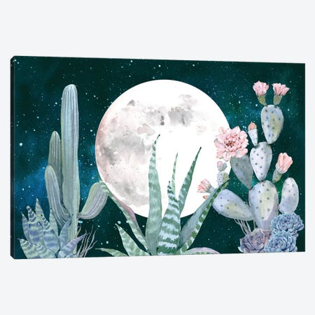 Desert Nights Cactus Succulents Moon Night Sky Southwestern In Turquoise Blue Mint Green And Pink III Canvas Print #MGK43} by Nature Magick Canvas Artwork