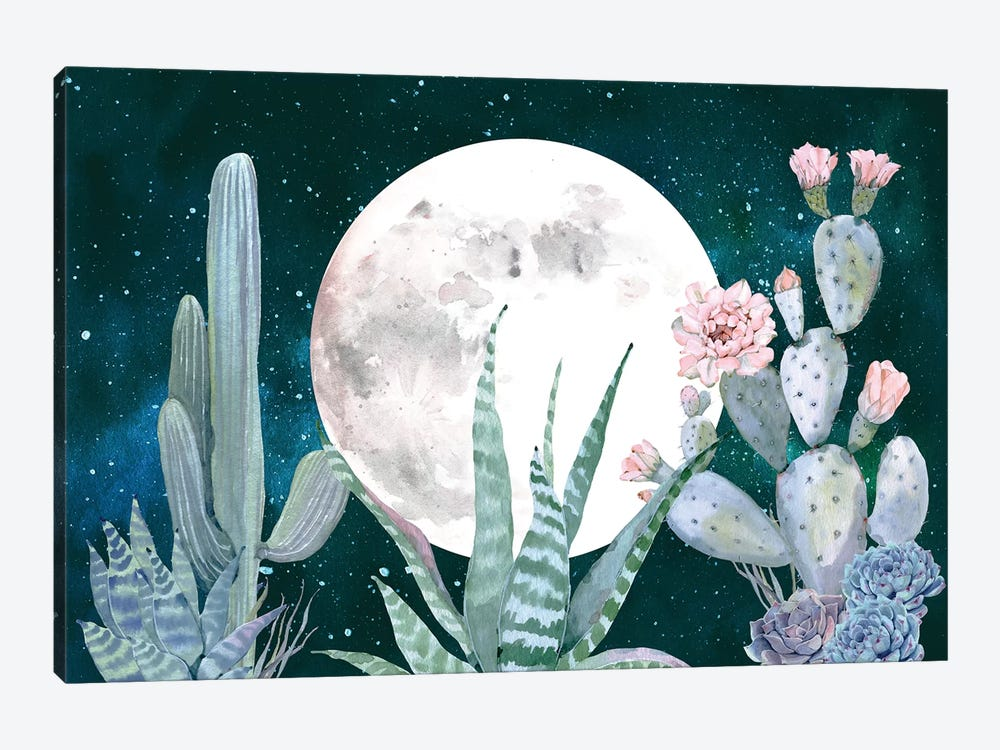 Desert Nights Cactus Succulents Moon Night Sky Southwestern In Turquoise Blue Mint Green And Pink III by Nature Magick 1-piece Canvas Art Print