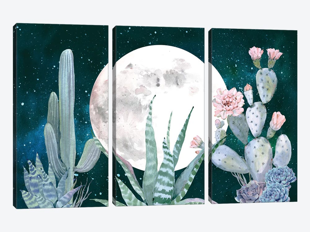 Desert Nights Cactus Succulents Moon Night Sky Southwestern In Turquoise Blue Mint Green And Pink III by Nature Magick 3-piece Canvas Art Print