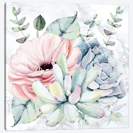 Succulents Floral Watercolor on Marble 3-Piece Canvas #MGK450} by Nature Magick Canvas Print