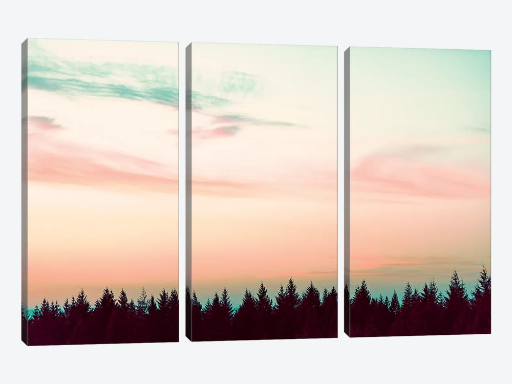Sunset Over The Pines by Nature Magick 3-piece Canvas Wall Art