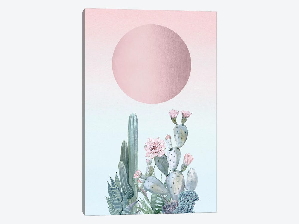 Desert Sunset Cactus Succulents And Rose Gold Sun Southwestern In Turquoise Blue Mint Green And Pastel Pink II by Nature Magick 1-piece Canvas Print
