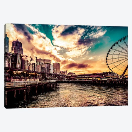 Turquoise Seattle Sunrise Great Wheel Pier 57 Cityscape Canvas Print #MGK472} by Nature Magick Canvas Print