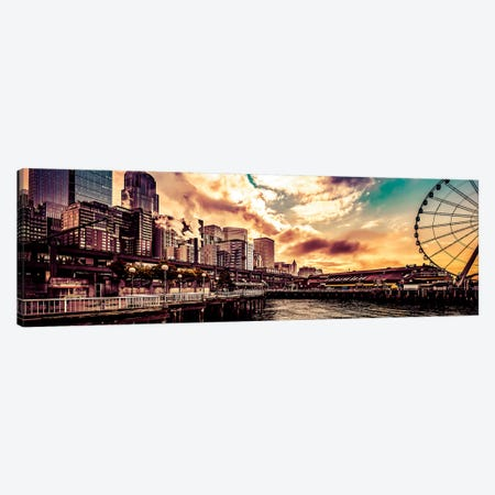 Turquoise Seattle Sunrise Great Wheel Pier 57 Cityscape Panorama Canvas Print #MGK473} by Nature Magick Art Print