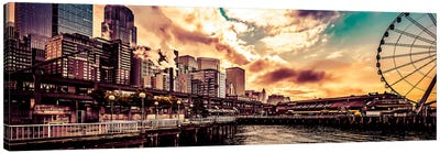 Turquoise Seattle Sunrise Great Wheel Pier 57 Cityscape Panorama Canvas Art Print