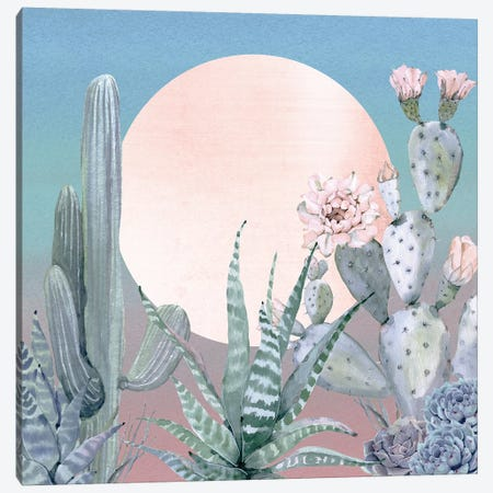Desert Twilight Southwestern Cacti And Succulent In Turquoise Blue Mint Green And Pink I Canvas Print #MGK47} by Nature Magick Art Print