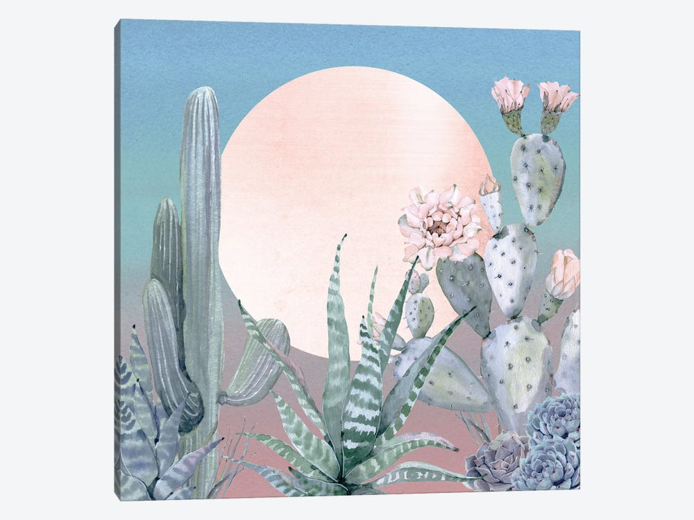 Desert Twilight Southwestern Cacti And Succulent In Turquoise Blue Mint Green And Pink I by Nature Magick 1-piece Art Print