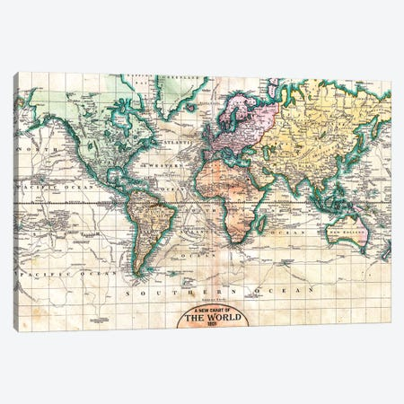 Vintage World Map 1801 Canvas Print #MGK482} by Nature Magick Canvas Artwork