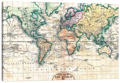 Vintage World Map 1801 Canvas Art Print