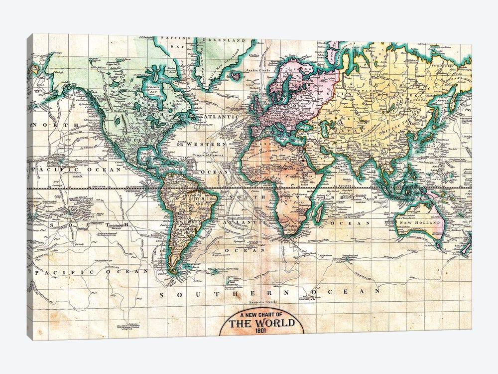 Vintage World Map 1801 by Nature Magick 1-piece Canvas Art Print