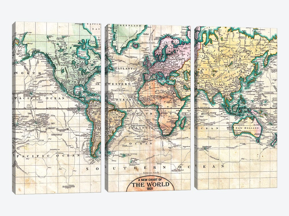 Vintage World Map 1801 by Nature Magick 3-piece Canvas Print