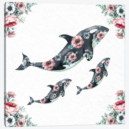 Watercolor Floral Whales Canvas Print #MGK483} by Nature Magick Canvas Art