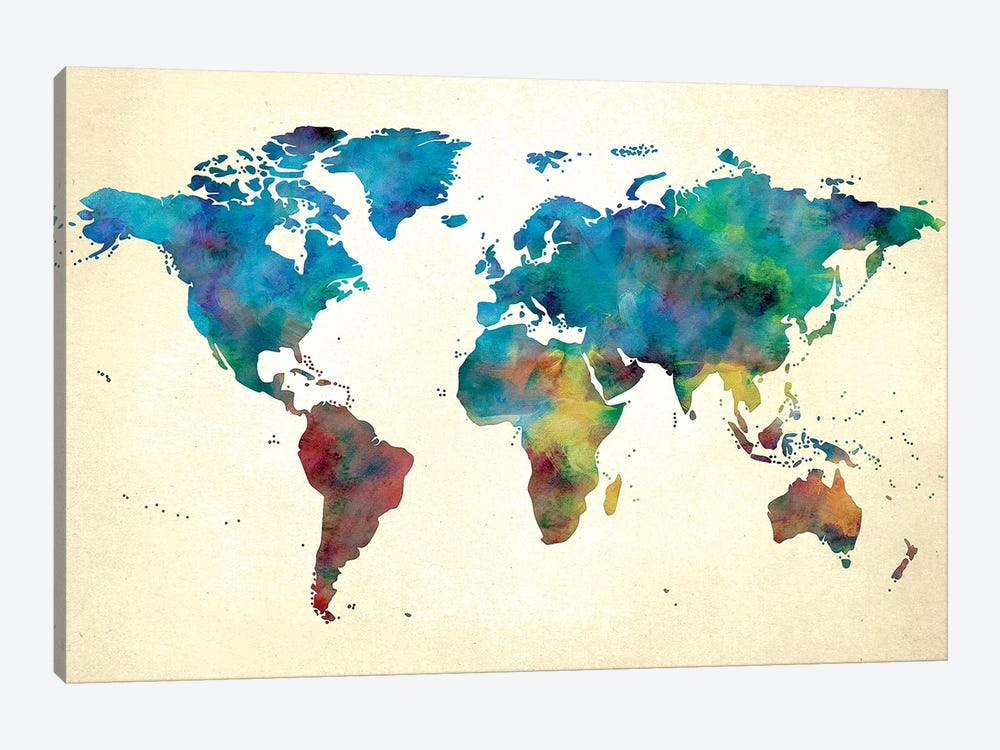 World Map Colorful Watercolor on Paper by Nature Magick 1-piece Canvas Art