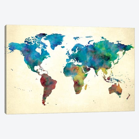 World Map Colorful Watercolor on Paper 3-Piece Canvas #MGK490} by Nature Magick Art Print