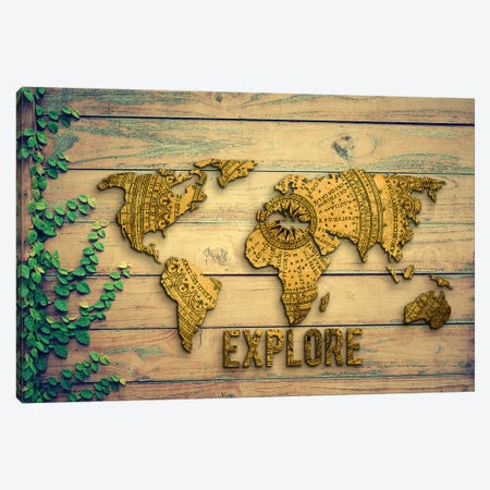 World Map Explore Vintage Compass Garden Wood Grain Canvas Print #MGK491} by Nature Magick Art Print