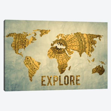 World Map Explore Vintage Compass Navy Blue Canvas Print #MGK492} by Nature Magick Art Print