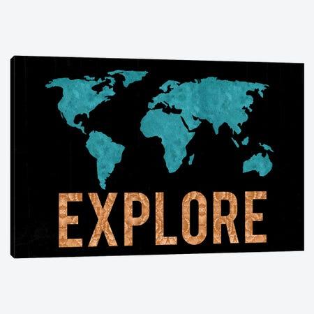 World Map Explore Vintage Turquoise Black Bronze Copper 3-Piece Canvas #MGK493} by Nature Magick Canvas Art Print
