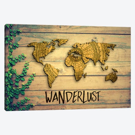 World Map Wanderlust Vintage Compass Garden Wood Grain Canvas Print #MGK494} by Nature Magick Canvas Wall Art