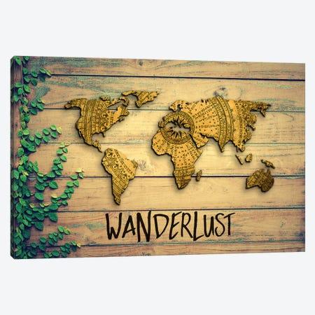 World Map Wanderlust Vintage Compass Garden Wood Grain Canvas Print #MGK494} by Nature Magick Canvas Wall Art