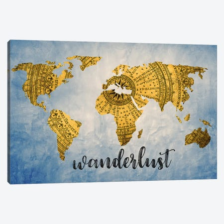 World Map Wanderlust Vintage Compass Navy Blue Canvas Print #MGK495} by Nature Magick Canvas Artwork