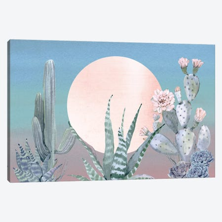 Desert Twilight Southwestern Cacti And Succulent In Turquoise Blue Mint Green And Pink III Canvas Print #MGK49} by Nature Magick Canvas Wall Art