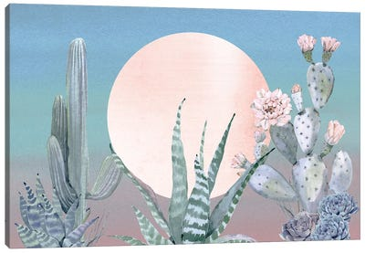 Desert Twilight Southwestern Cacti And Succulent In Turquoise Blue Mint Green And Pink III Canvas Art Print