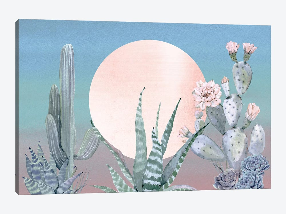 Desert Twilight Southwestern Cacti And Succulent In Turquoise Blue Mint Green And Pink III by Nature Magick 1-piece Art Print