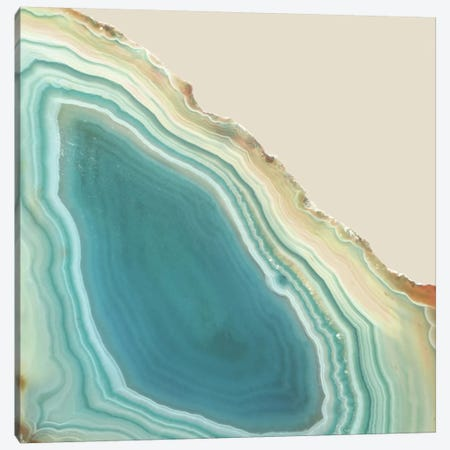 Agate Geode Geometric Marble In Turquoise Blue Green And Beige Cream Crystal Canvas Print #MGK4} by Nature Magick Art Print