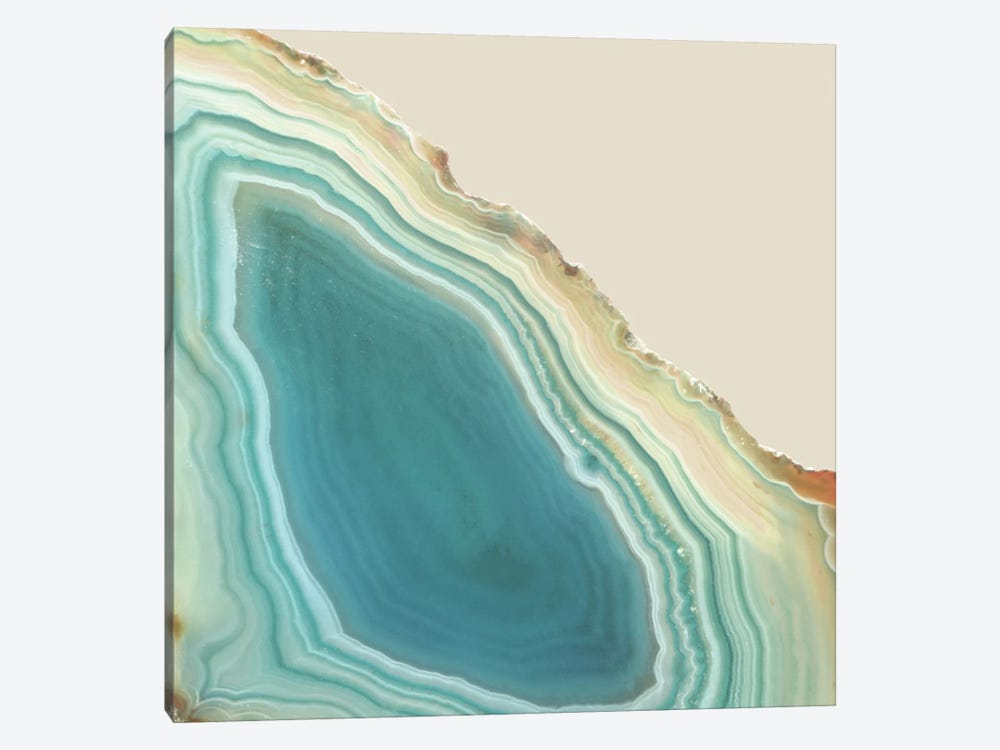 Agate Geode Geometric Marble In Turquoise Blue Green And Beige Cream Crystal by Nature Magick 1-piece Canvas Wall Art
