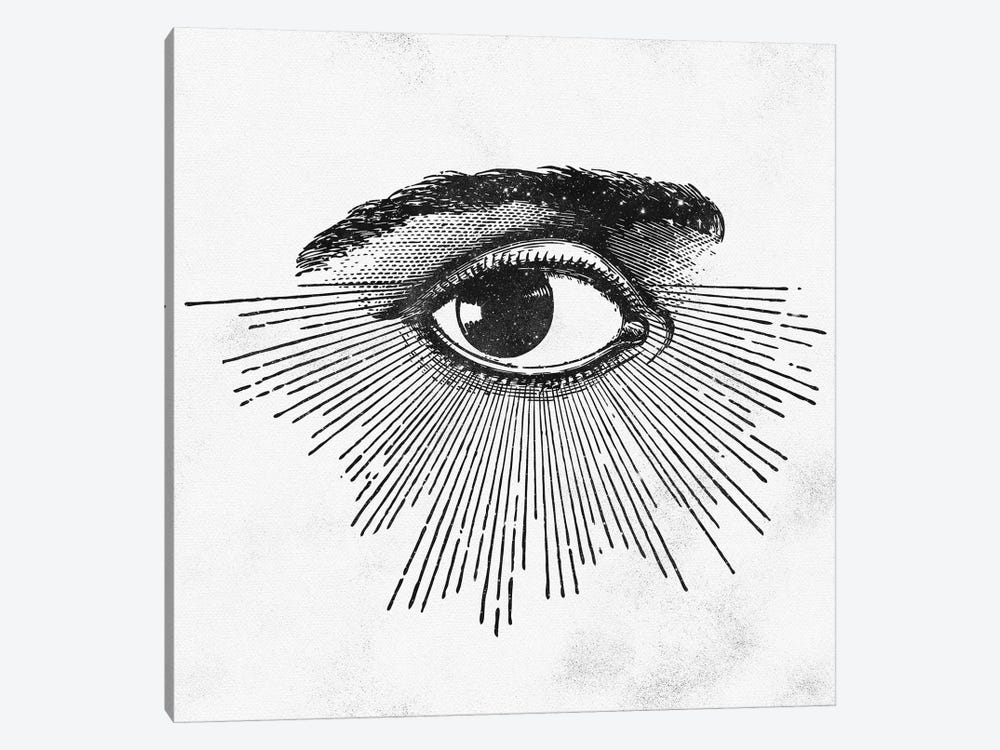 Eye Symbol Vintage Occult Eye With Rays Symbolism In Space Stars Black And White by Nature Magick 1-piece Canvas Art