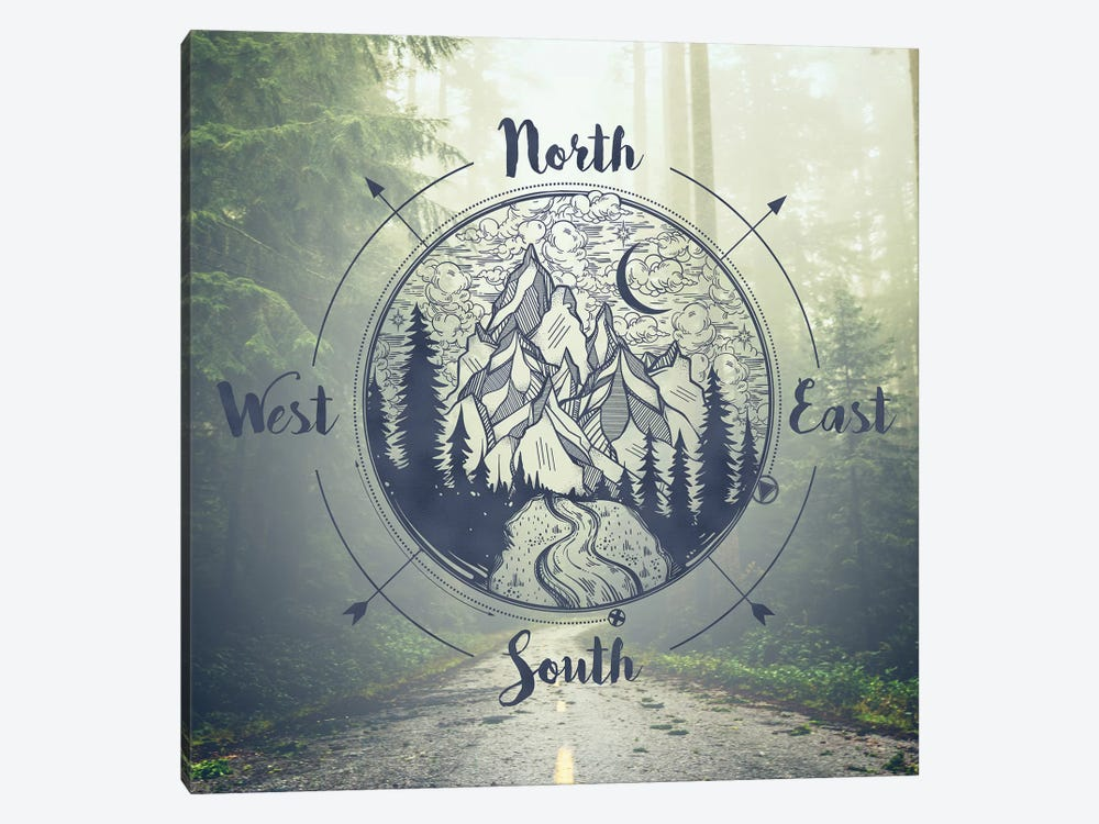 Foggy Forest Trees And Compass Redwoods Road Trip Green California Redwood National Park Adventure Mountains Nature by Nature Magick 1-piece Canvas Art