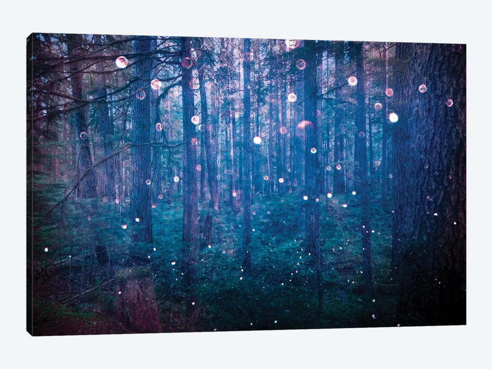 Forest Fairy Lights In Sparkly Blue Bokeh Adventure In The Woods Nature by Nature Magick 1-piece Art Print