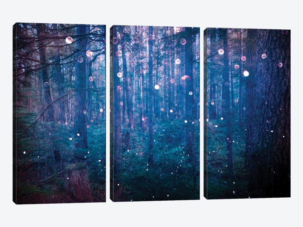 Forest Fairy Lights In Sparkly Blue Bokeh Adventure In The Woods Nature by Nature Magick 3-piece Canvas Print