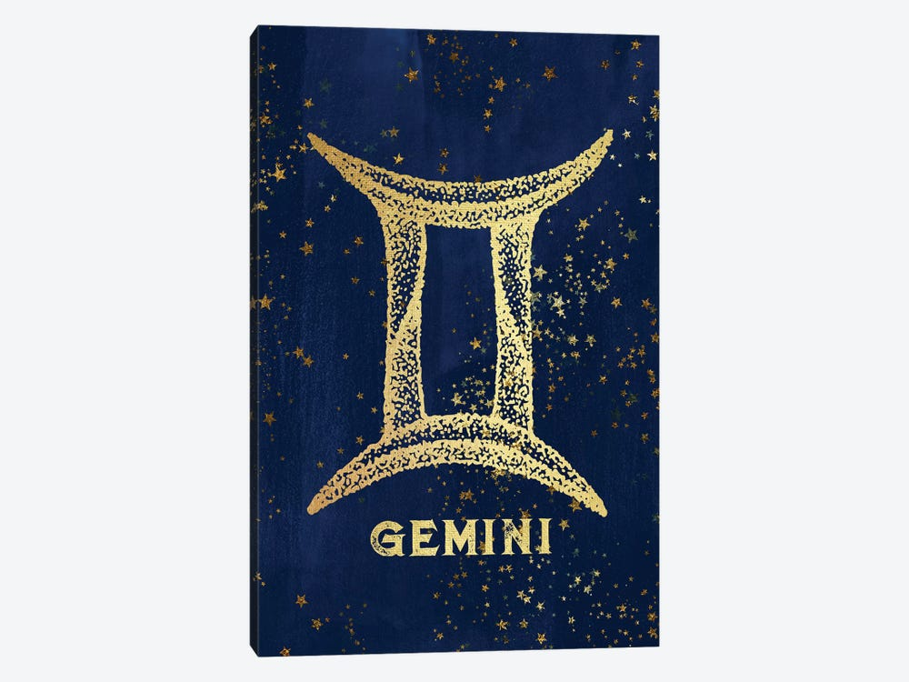 Gemini Zodiac Sign In Gold Copper Bronze On Navy Blue Night Sky With Astrological Stars by Nature Magick 1-piece Canvas Artwork