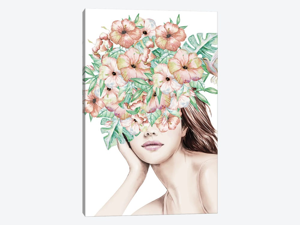 Island Flower Girl With Flowers Over Her Eyes Hibiscus Tropical Floral Head Covering by Nature Magick 1-piece Canvas Artwork