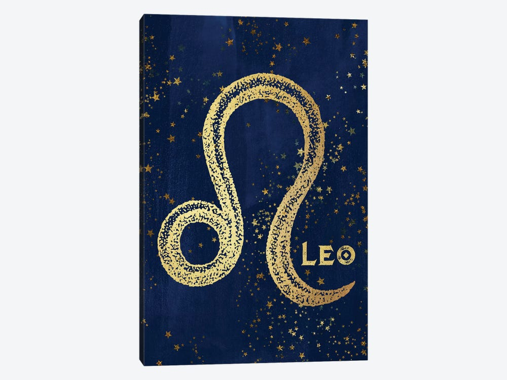 Leo Zodiac Sign In Gold Copper Bronze On Navy Blue Night Sky With Astrological Stars by Nature Magick 1-piece Art Print