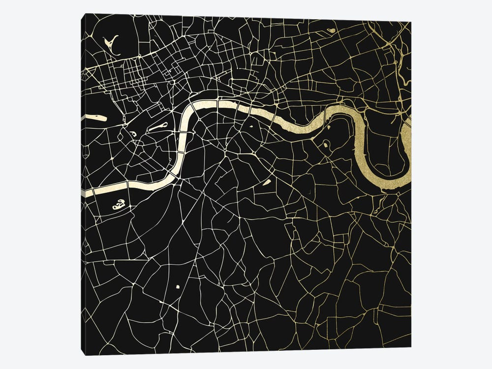 London England City Map Black On Gold Metallic Street Map by Nature Magick 1-piece Art Print