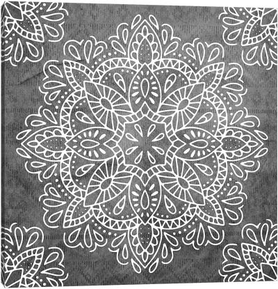 Mandala Antique Lace Floral Flower In Vintage White On Ocean Fog Gray Canvas Art Print