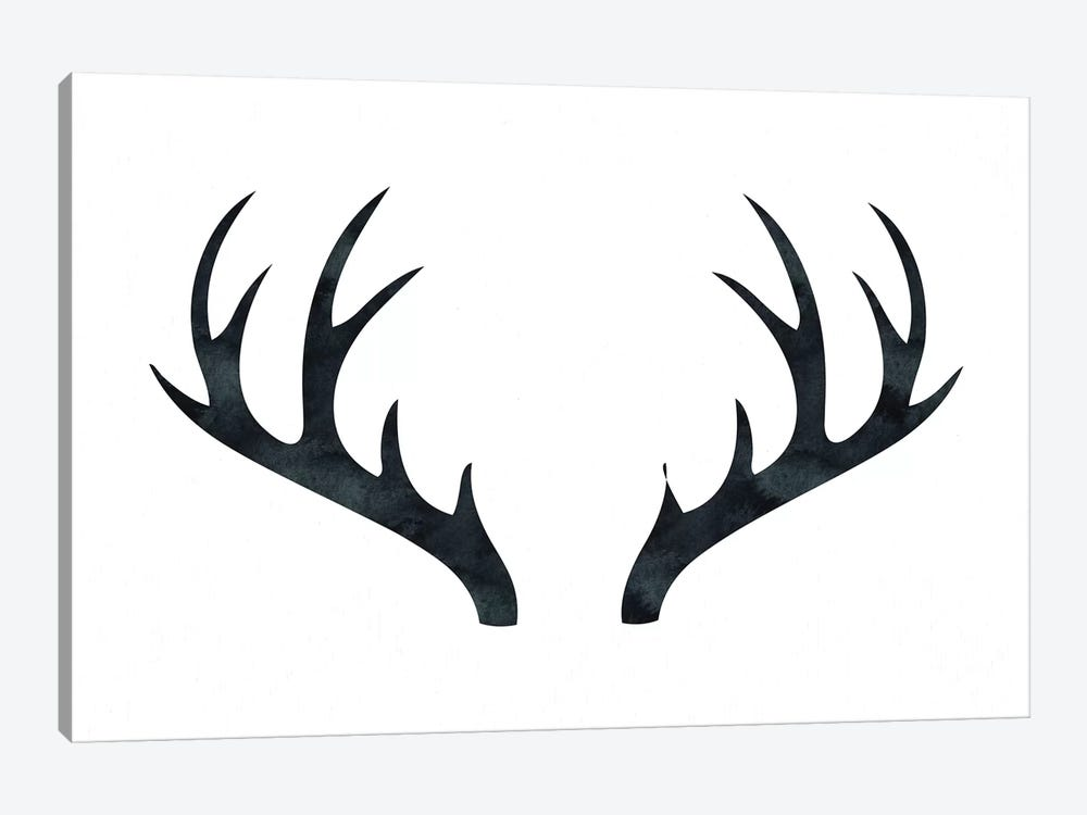 Antlers On White 1-piece Canvas Art