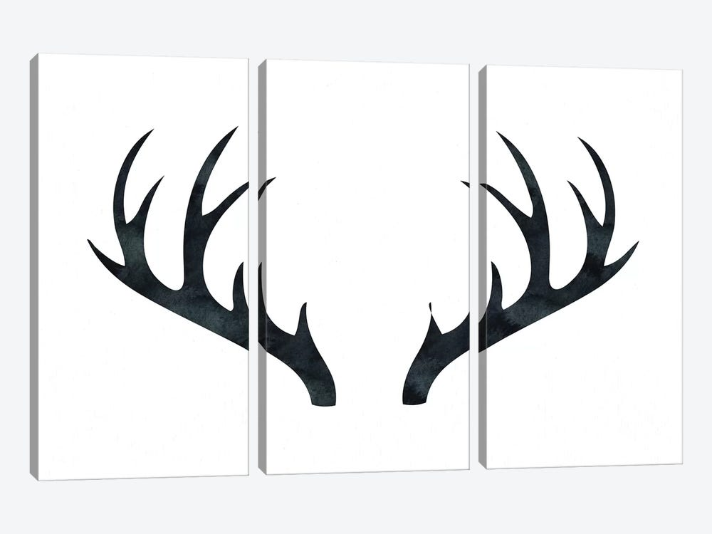 Antlers On White 3-piece Canvas Art