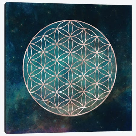 Mandala Flower Of Life Bohemian Rose Gold With Deep Teal Turquoise And Boho Pink Space And Stars Canvas Print #MGK73} by Nature Magick Canvas Print