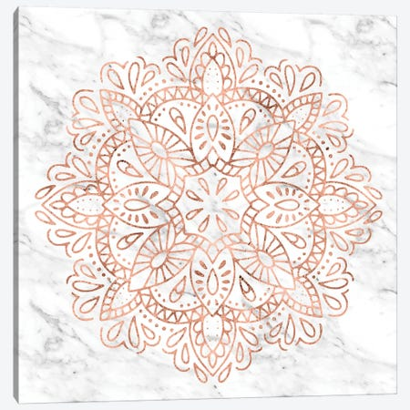 Mandala Rose Gold Pink Symbol Bohemian Lace Metallic Rose Gold On Black Gray And Fashion White Marble Canvas Print #MGK74} by Nature Magick Canvas Wall Art