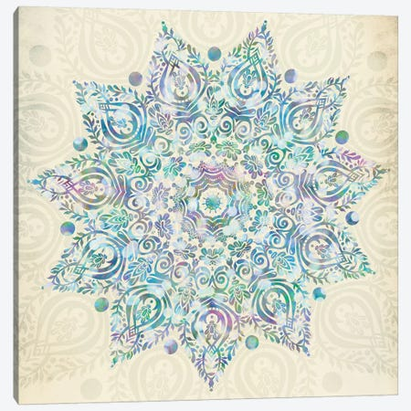 Mandala Turquoise Green And Pink Bohemian Mermaid Dreams Mandalas Symbol On Vintage Cream Canvas Print #MGK75} by Nature Magick Canvas Wall Art