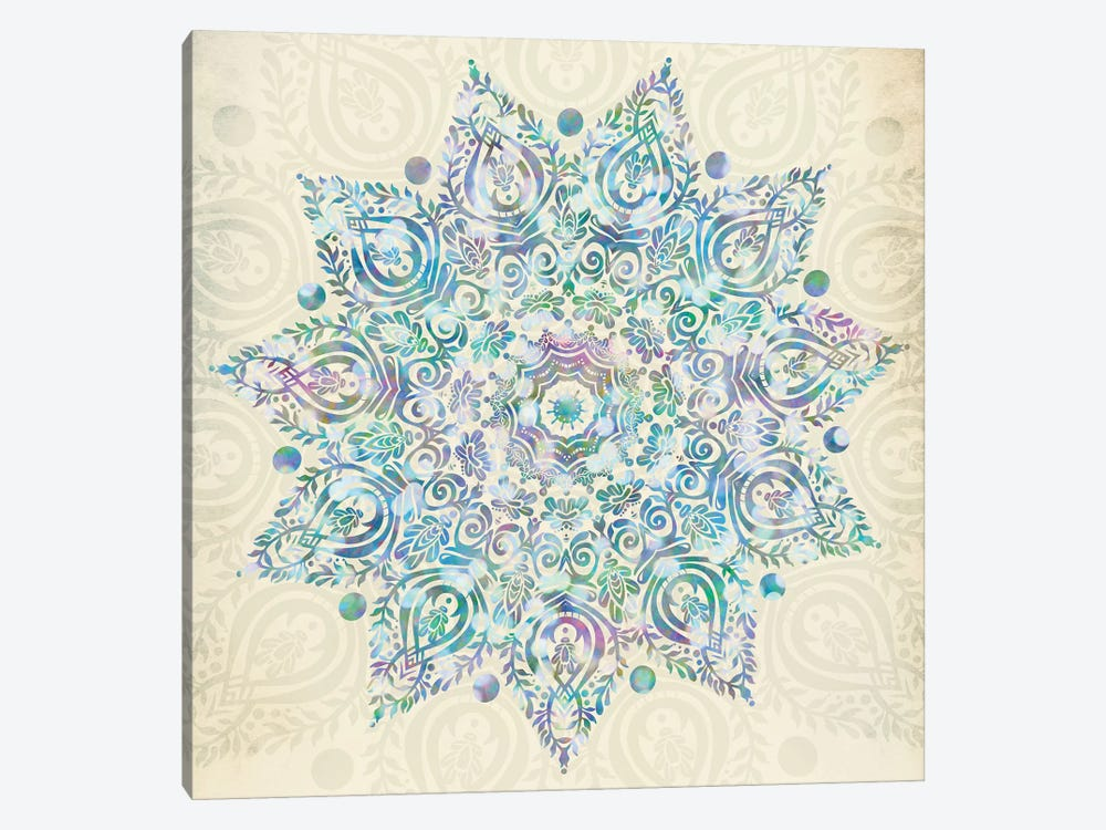 Mandala Turquoise Green And Pink Bohemian Mermaid Dreams Mandalas Symbol On Vintage Cream by Nature Magick 1-piece Canvas Artwork
