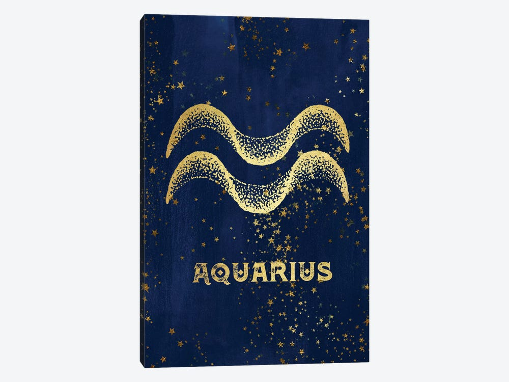 Aquarius Zodiac Sign In Gold Copper Bronze On Navy Blue Night Sky With Astrological Stars by Nature Magick 1-piece Canvas Print