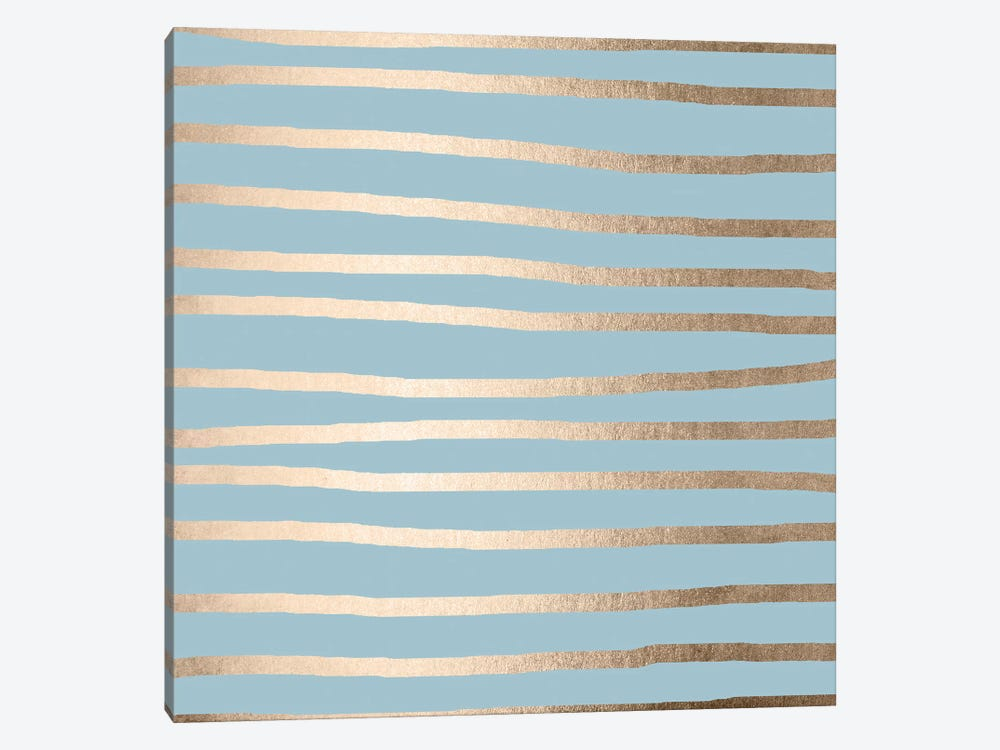 Modern Abstract Stripes White Gold Tropical Ocean Sea Turquoise by Nature Magick 1-piece Canvas Artwork